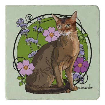 Beach Themed Abyssinian Cat with Beach Roses Trivet