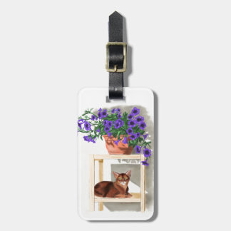 Abyssinian Cat With Flowers Tags For Luggage