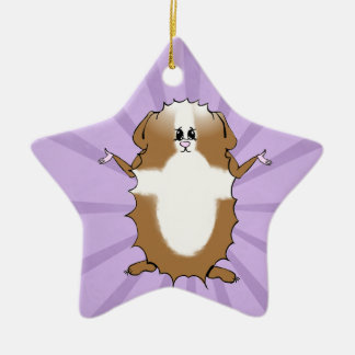 Abyssinian Guinea Pig Comic Double-Sided Star Ceramic Christmas Ornament