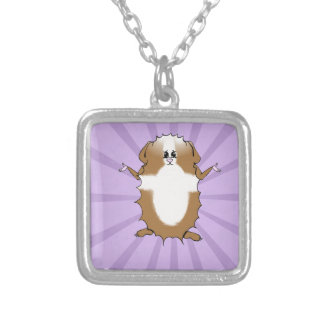 Abyssinian Guinea Pig Comic Silver Plated Necklace