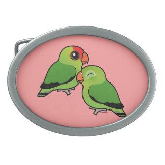 Abyssinian Lovebird Adorable Pair Oval Belt Buckles