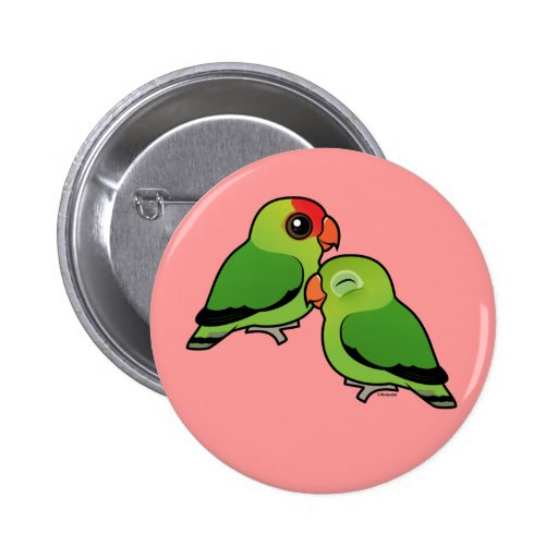 Abyssinian Lovebird Adorable Pair Buttons