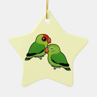Abyssinian Lovebird Adorable Pair Christmas Tree Ornaments