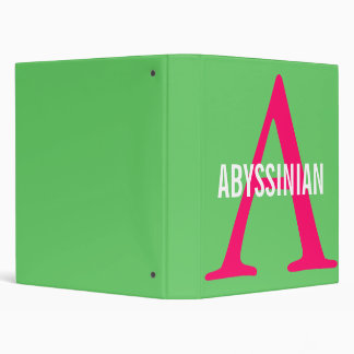 Abyssinian Monogram 3 Ring Binder