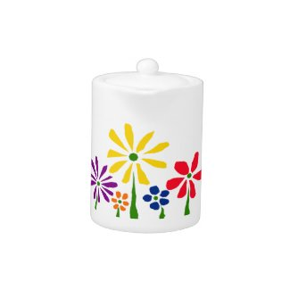AC- Awesome Cheerful Daisy Floral Art Teapot