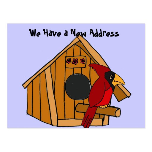 AC- Birdhouse and Cardinal Moving Notices Postcard