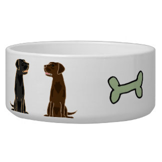 AC- Chocolate and Black Labrador Dog Water Bowl