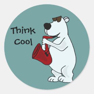 AC- Cool Polar Bear Playing the Saxophone Cartoon Classic Round Sticker