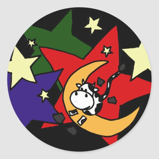 AC- Cow Jumping Over the Moon with Stars Classic Round Sticker