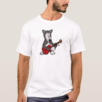 AC- Cute Wolf Playing Electric Guitar Cartoon T-Shirt