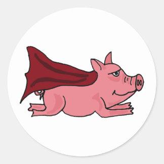 AC- Flying Super Pig Cartoon Classic Round Sticker