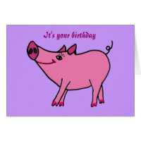 Funny pig birthday cards greeting photo cards zazzle ac happy birthday pig greeting card bookmarktalkfo Image collections