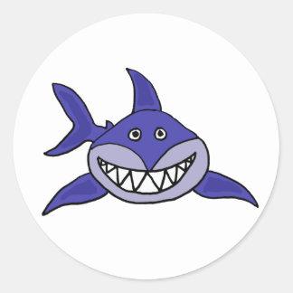 AC- Hilarious Grinning Shark Cartoon Round Stickers