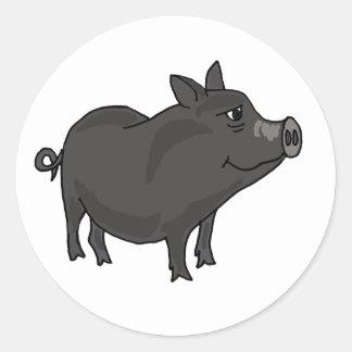 AC- Pot Bellied Pig Cartoon Classic Round Sticker