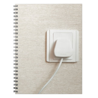 AC power plug in wall socket Spiral Note Books
