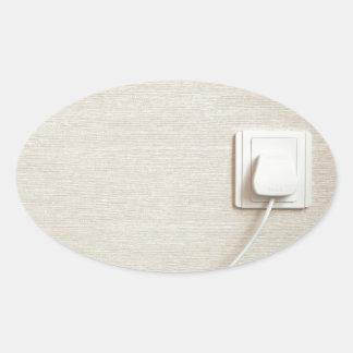 AC power plug in wall socket Oval Sticker