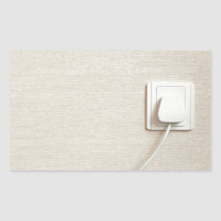 AC power plug in wall socket Rectangular Sticker