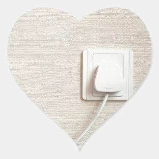 AC power plug in wall socket Heart Sticker