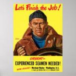 Acabemos a los marineros experimentados trabajo ne posters
