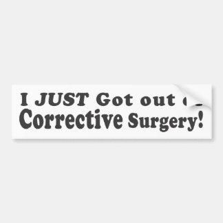 ¡Acabo de salir de cirugía correctiva! - Sti del p Pegatina De Parachoque