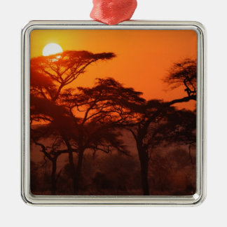 Acacia forest silhouetted at sunset, Tarangire Metal Ornament
