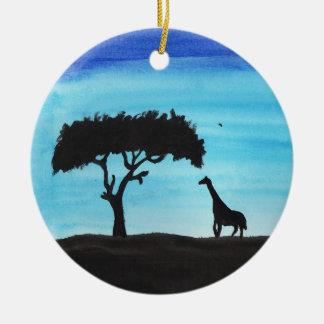 Acacia & Giraffe Ceramic Ornament