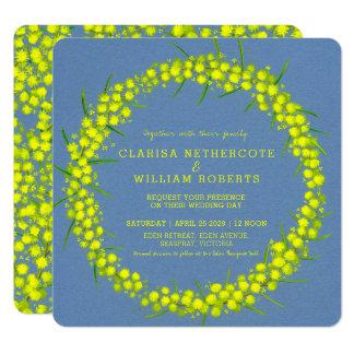 Acacia yellow wattle floral art wedding invites