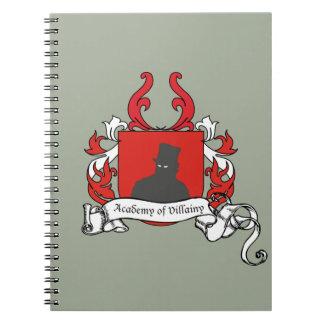 Academia de escudo de armas de la villanía spiral notebook