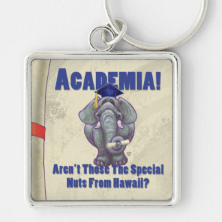 Academia Scroll Silver-Colored Square Keychain