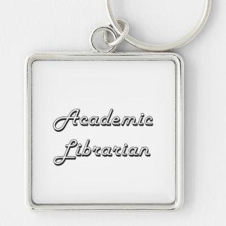 Academic Librarian Classic Job Design Silver-Colored Square Keychain