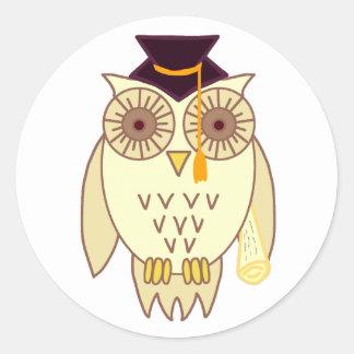 Academic Owl Classic Round Sticker