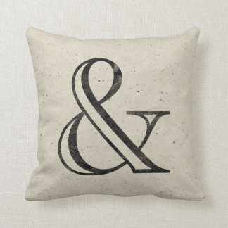 Academy Engraved Ampersand Black Throw Pillow