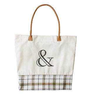Academy Engraved Ampersand Black Zazzle HEART Tote Bag