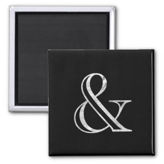 Academy Engraved Ampersand White 2 Inch Square Magnet