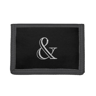 Academy Engraved Ampersand White Tri-fold Wallet