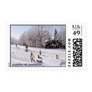 Academy Hill Stratford CT Sledding Stamp
