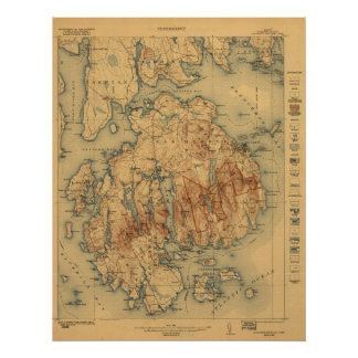 Acadia National Park 1922 Topographic Map Poster