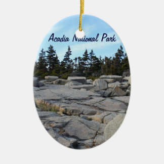 Acadia National Park, Maine Double-Sided Oval Ceramic Christmas Ornament
