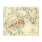 Acadia National ParkTopographic Panoramic Map Canvas Print