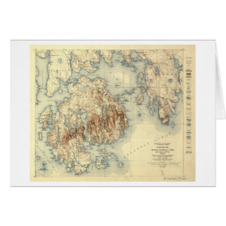 Acadia National ParkTopographic Panoramic Map Card
