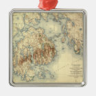 Acadia National ParkTopographic Panoramic Map Metal Ornament