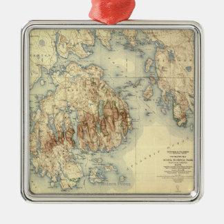 Acadia National ParkTopographic Panoramic Map Metal Ornament