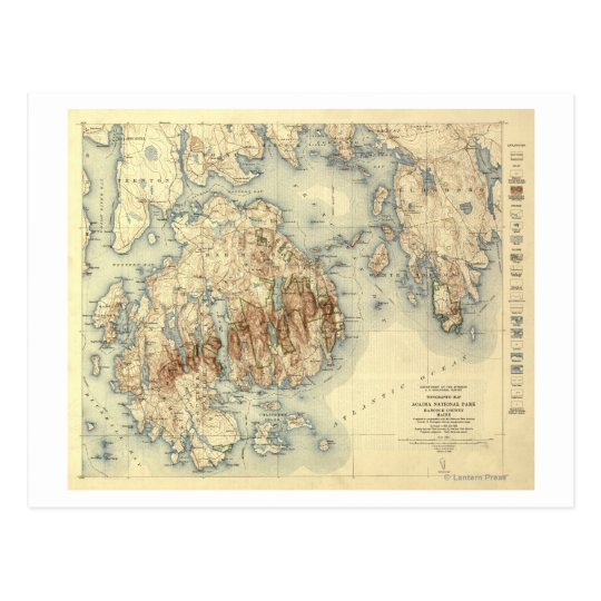 Acadia National ParkTopographic Panoramic Map Postcard