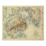 Acadia National ParkTopographic Panoramic Map Poster