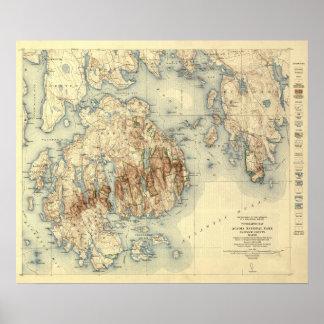 Acadia National ParkTopographic Panoramic Map Print