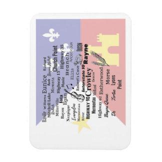 Acadia Parish Cities Magnet on Faded Cajun Flag