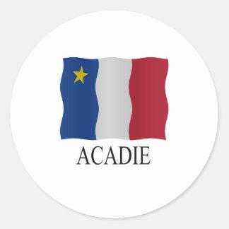Acadian flag classic round sticker