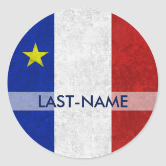 Acadian Flag Surname Distressed Grunge Personalize Classic Round Sticker