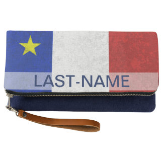 Acadian Flag Surname Distressed Grunge Personalize Clutch
