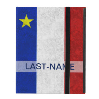 Acadian Flag Surname Distressed Grunge Personalize iPad Case